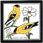 Gold Finch Song Bird Tile Hand Painted by Besheer Art Tile, for use as Wall Plaque or Trivet