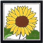 Sunflower Art Tile, Wall Plaque, Trivet, Hand Painted Tile