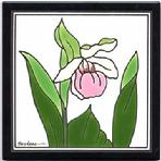 Lady Slipper, Wild Orchid, Tile, Wall Palque, Trivet