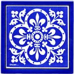 Cobalt Blue Tiles with Fluer de Lis Renaissance Design, Hand Painted Tile, Wall Plaque, Trivet