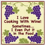 I LOVE COOKING WITH WINE WALL PLAQUE, Hand Painted