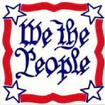 We the People Wall Plaque, Hand Painted Patriotic Tiles by Besheer Art Tile