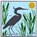 Great Blue Heron, Ceramic Art Tile, Decorative Wall Plaque, Trivet,