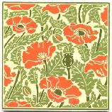 "Besheer Art Tile has created a series of tiles for the Museum of Fine Arts Boston that is inspired by images from a book in their collection: Plants and their Application to Ornament, published in London in 1897 by Eugene Samuel Grasset, has unique floral designs, each one based on a specific flower. These tiles are hand made in New Hampshire. The ceramic tile, which is heat resistant, can be used as a trivet or hotplate, as well as hung for wall decor. 6"" x 6"", Cork backed. Wipe clean."