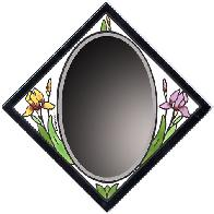 WIld Iris Tile Mirror, beveled glass combined with hand painted art tile.