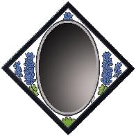 Lupine Tile Mirror, Also known in Texas as Blue Bonnet, beveled glass combined with hand painted art tile.