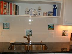 Hand Painted Tiles with a Nautical Theme insatlled in a Kitchen Backsplash, Hnad Painted Tile by Besheer