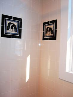 Loon Tiles Framed In Black in a shower