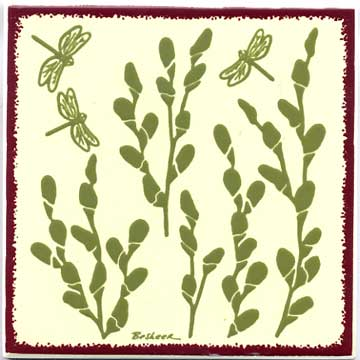 Pussy Willow Botanical design as a tile, trivet, or wall plaque. Can be used in a kitchen backsplash or bathroom tile.