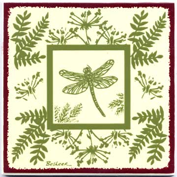 tile trivet dragonfly and fern design painted on ceramic accent tiles