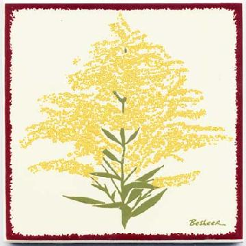 GoldenRod Wall Art, Tile, Trivet Painted with brilliant enamels