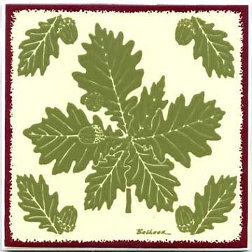 Oak leaves with acorns as a tile, trivet, or wall plaque. Can be used in a kitchen backsplash or bathroom tile.