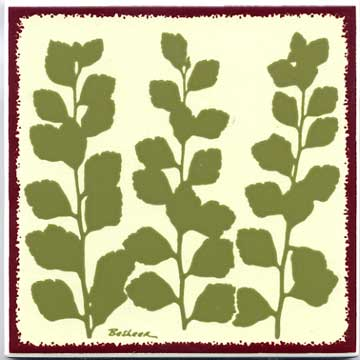 Bridal veil botanical tile , trivet, or wall plaque. Can be used in a kitchen backsplash or bathroom tile.