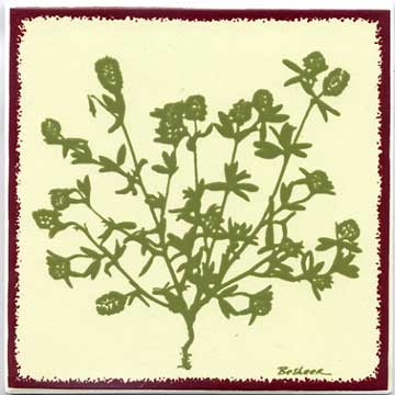 Thistle tile art, trivet, or wall plaque. Can be used in a kitchen backsplash or bathroom tile.