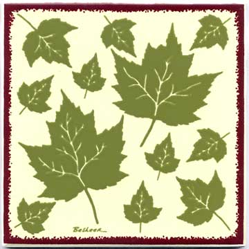 maple leaves painted ceramic tiles for kitchen and bath
