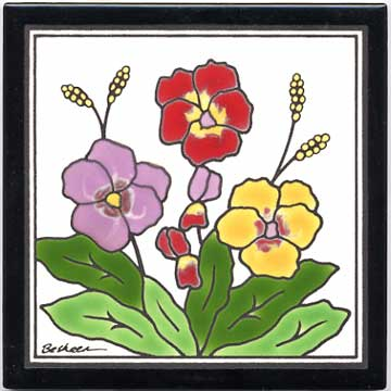 hand painted art tile with floral designs by besheer art tile83 art