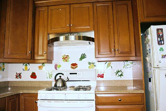 Fruit Tiles And Vegetable Kitchen Backsplash